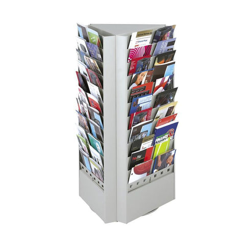 Safco 4326GR 66 or 33-Pocket Steel Rotary Brochure Rack - Safcomart