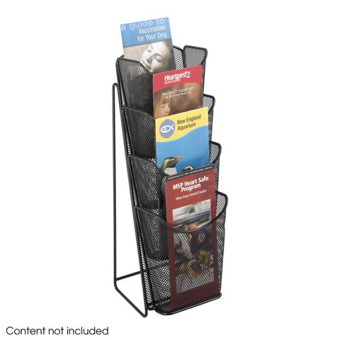 Safco 5641BL Onyx™ Mesh 4 Pocket Pamphlet Display - Peazz Furniture
