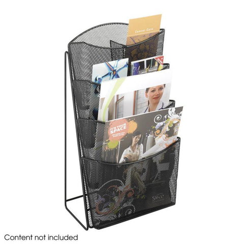 Safco 5640BL Onyx™ Mesh 4 Pocket Magazine Rack - Peazz Furniture