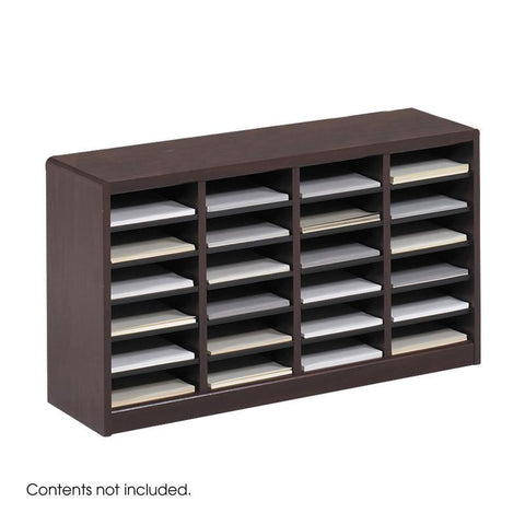 Safco 9311MH E-Z Stor® Wood Literature Organizer, 24 Compartments - Peazz Furniture