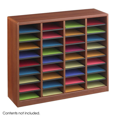 Safco 9321CY E-Z Stor® Wood Literature Organizer, 36 Compartments - Peazz Furniture