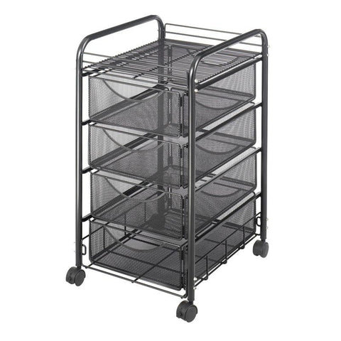Safco 5214BL Onyx™ Mesh File Cart with 4 Drawers - Peazz Furniture