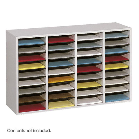 Safco 9424GR Wood Adjustable Literature Organizer, 36 Compartment - Safcomart