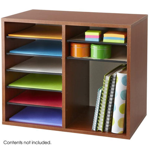 Safco 9420CY Wood Adjustable Literature Organizer - 12 Compartment - Safcomart
