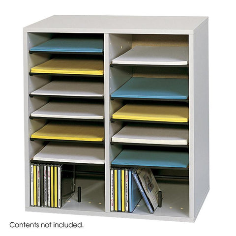 Safco 9422GR Wood Adjustable Literature Organizer, 16 Compartment - Safcomart