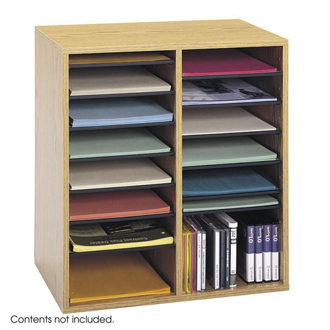 Safco 9422MO Wood Adjustable Literature Organizer, 16 Compartment - Safcomart