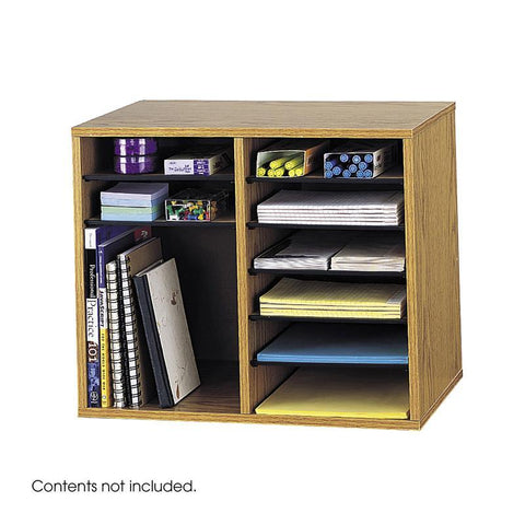 Safco 9420MO Wood Adjustable Literature Organizer - 12 Compartment - Safcomart