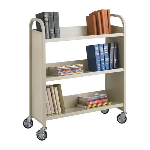 Safco 5358SA Steel 3-Shelf Single-Sided Book Carts - Peazz Furniture