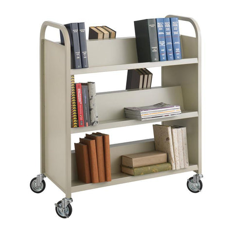 Safco 5357SA Steel Shelf Double-Sided Book Carts, 6-Shelf Cart - Peazz Furniture