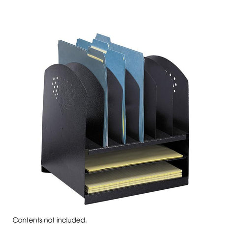 Safco 3166BL Combination Desk Rack 6 Upright and 2 Horizontal - Safcomart