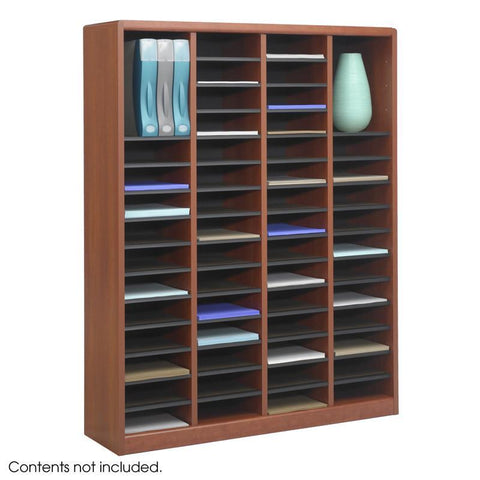 Safco 9331CY E-Z Stor® Wood Literature Organizer, 60 Compartments - Peazz Furniture