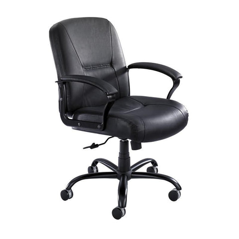 Safco 3501BL Serenity™ Big and Tall Leather Midback - Safcomart