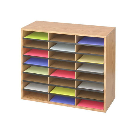 Safco 9402MO Wood/Corrugated Literature Organizer, 24 - Peazz Furniture