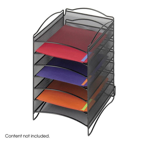 Safco 9431BL Onyx™ 6 Compartment Mesh Literature Organizer - Peazz Furniture