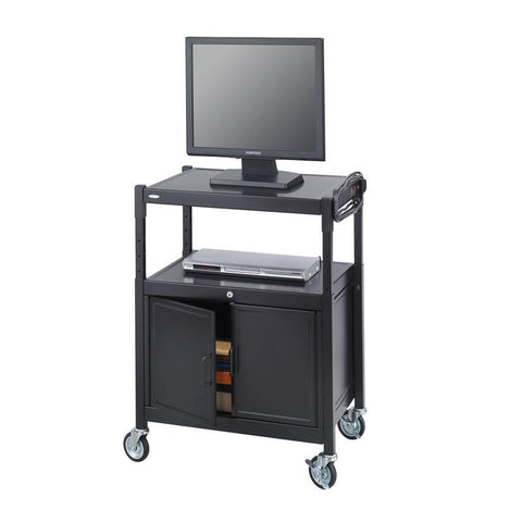 Safco 8943BL Steel Adjustable AV Cart With Cabinet - Peazz Furniture