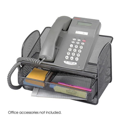 Safco 2160BL Onyx™ Mesh Telephone Stand With Drawer (Qty.5) - Safcomart