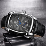 The Monacco 42mm Leather Watch - Black Strap