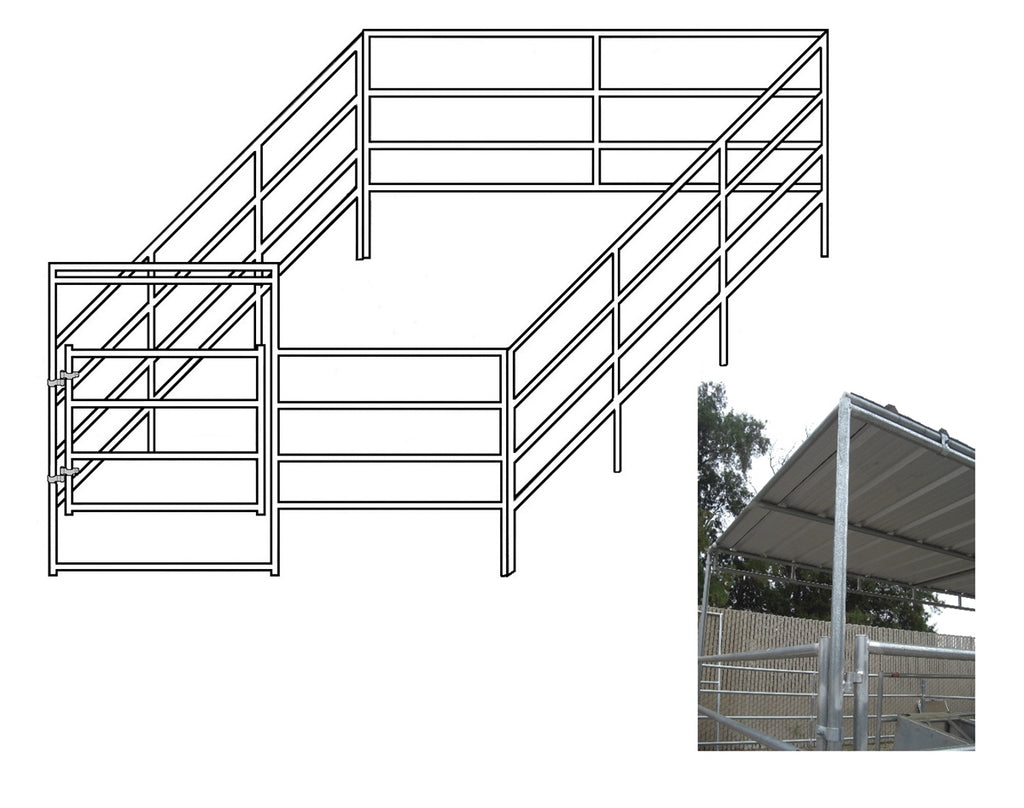 12'W x 24'D Complete Corral 4-Rail 1-5/8 with 8' x 12' Trussed Clamp-On Cover