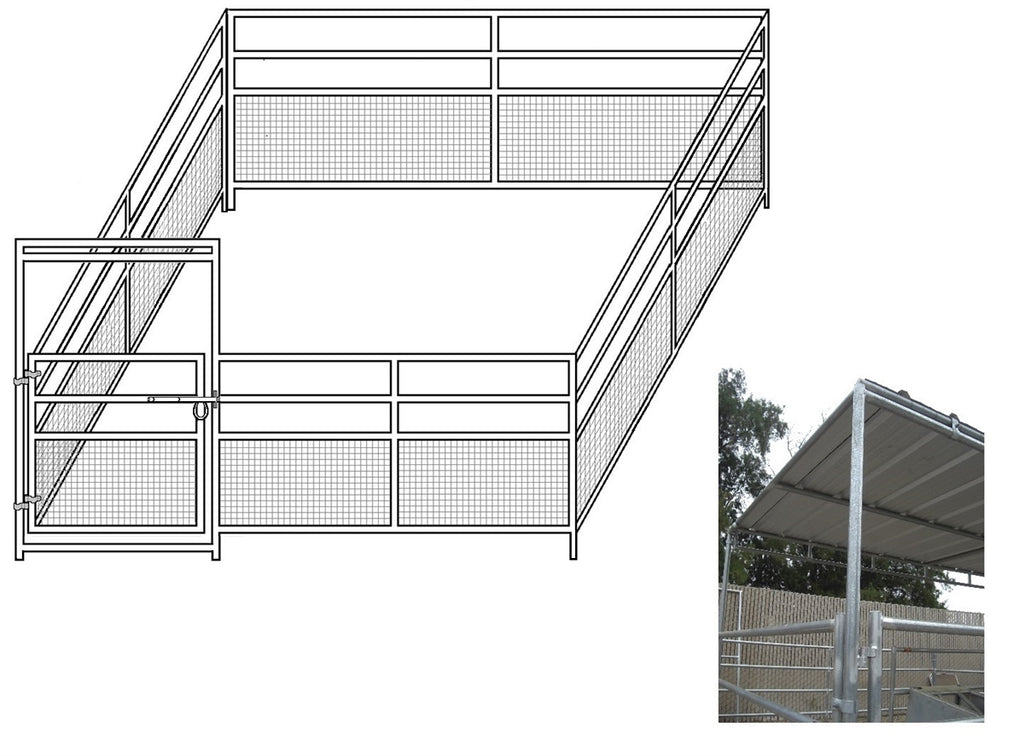 16'W x 16'D 1-7/8 4-Rail Mare & Foal Horse Complete Corral with 8' x 16' Trussed Cover