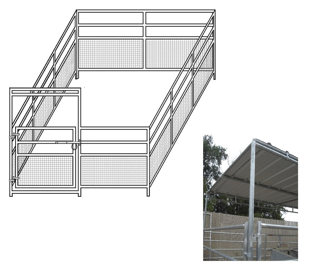 12'W x 24'D 1-7/8 4-Rail Mare & Foal Horse Complete Corral with 8' x 12' Trussed Cover