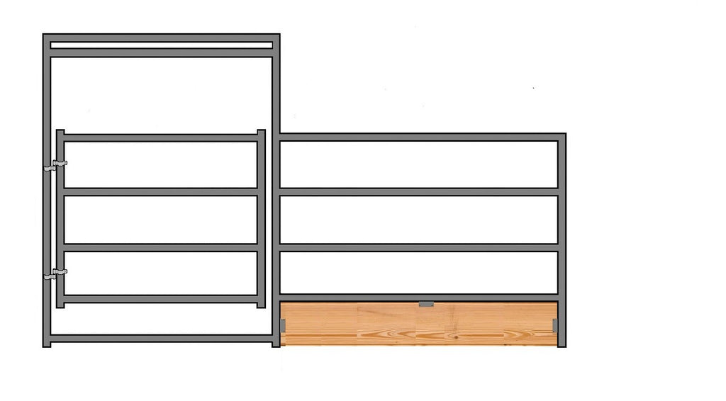 "12'W x 5'H 4-Rail 1-7/8"" Wood-Base Corral Panel W/ Gate"