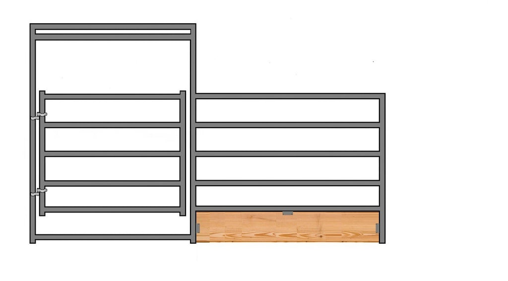 "12'W x 5'H 5-Rail 1-7/8"" Wood-Base Corral Panel W/ Gate"