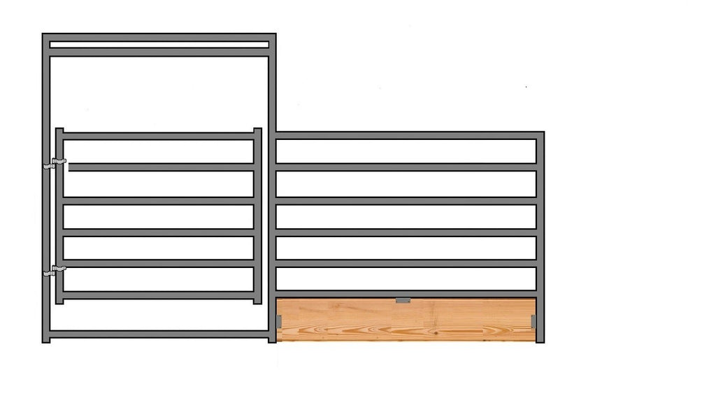 "12'W x 6'H 6-Rail 1-7/8"" Wood-Base Corral Panel W/ Gate"