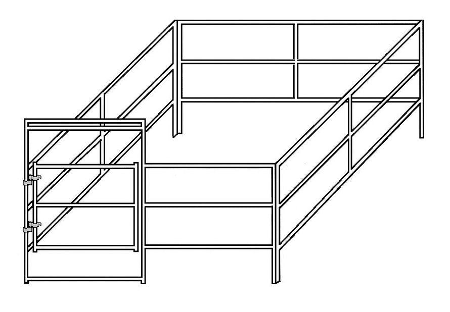 12'W x 12D' Complete Corral 3-Rail 1-5/8""