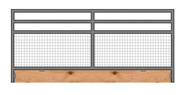 12'W x 5'H 4-Rail 1-5/8 Mare & Foal Corral Panel W/ Wood Base