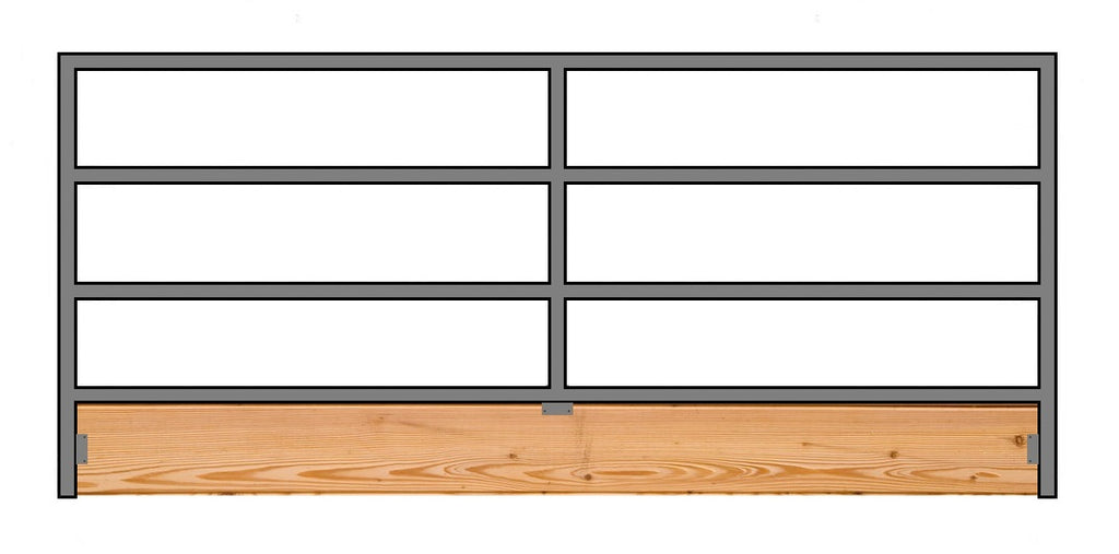12'W x 5'H 4-Rail 1-5/8 Corral Panel W/ Wood-Base