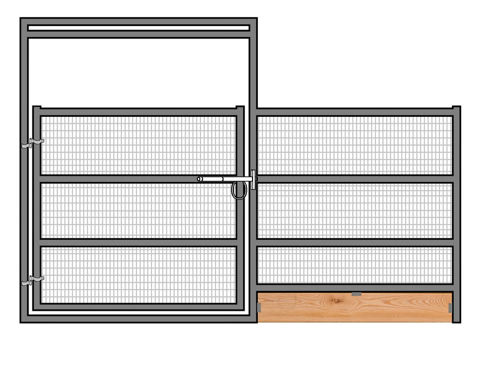 12'W x 6'H Welded Wire Corral Panel W/ Gate 4-Rail 1-5/8 W/ Wood Base