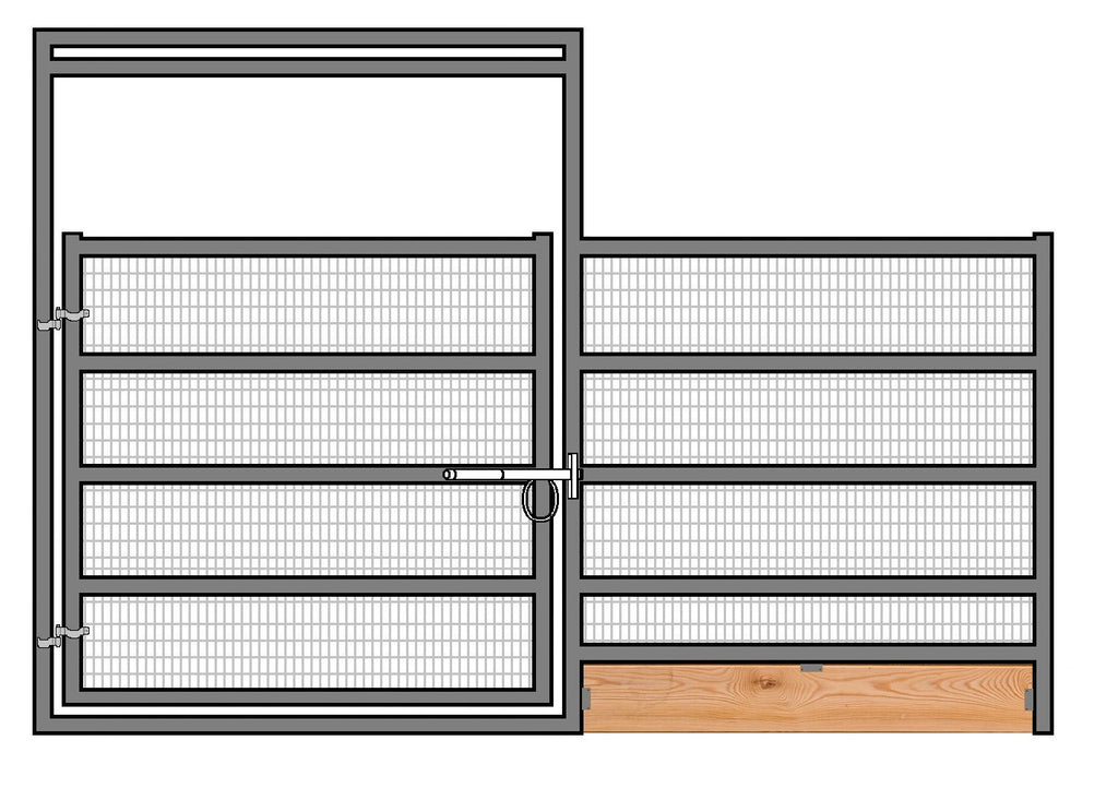 12'W x 6'H Welded Wire Corral Panel W/ Gate 5-Rail 1-5/8 W/ Wood Base