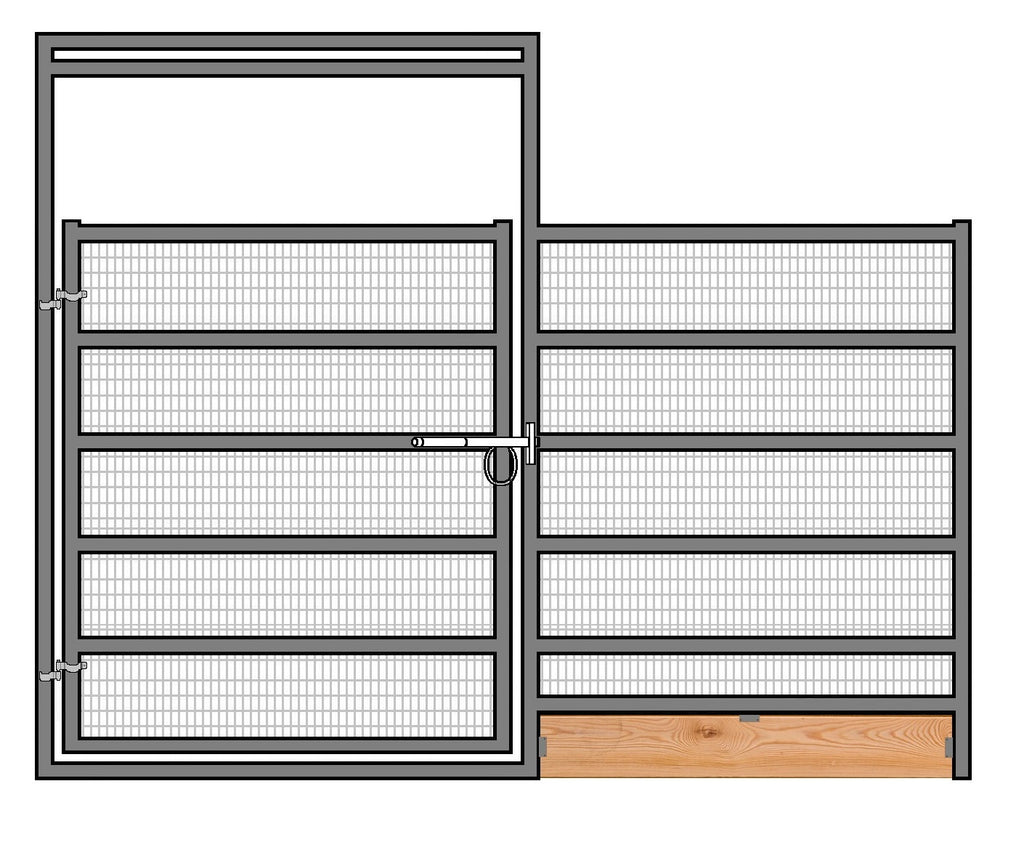 12'W x 6'H Welded Wire Corral Panel W/ Gate 6-Rail 1-7/8 W/ Wood Base