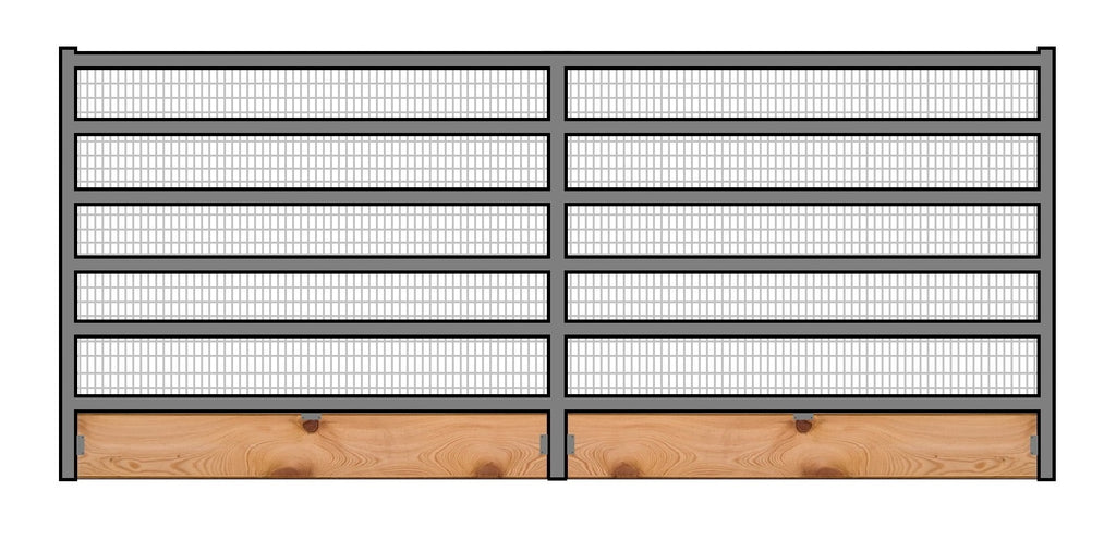 12'W x 6'H Welded Wire Corral Panel 6-Rail 1-5/8 W/ Wood Base