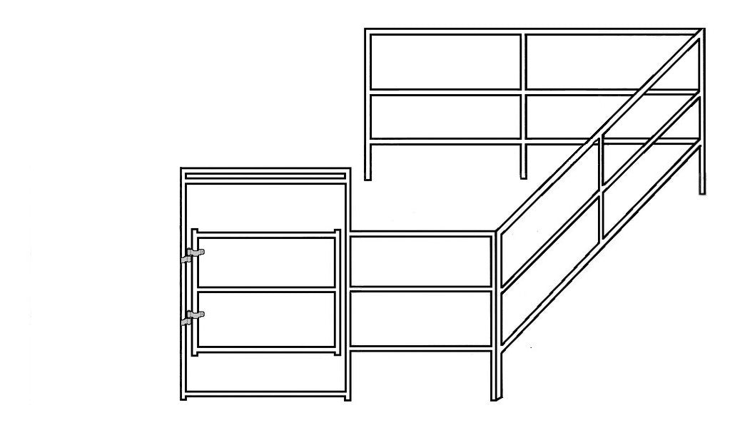 12'W x 12'D Add-On Corral 3-Rail 1-5/8""