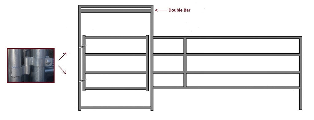 16'W x 5'H Corral Gate Panel 4-Rail 1-7/8