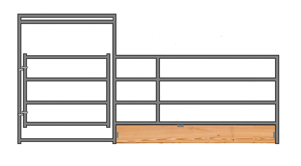 "16'W x 5'H 4-Rail 1-7/8"" Wood-Base Corral Panel W/ Gate"