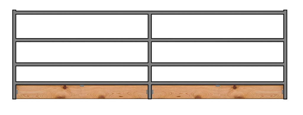 16'W x 5'H 4-Rail 1-7/8 Corral Panel W/ Wood-Base