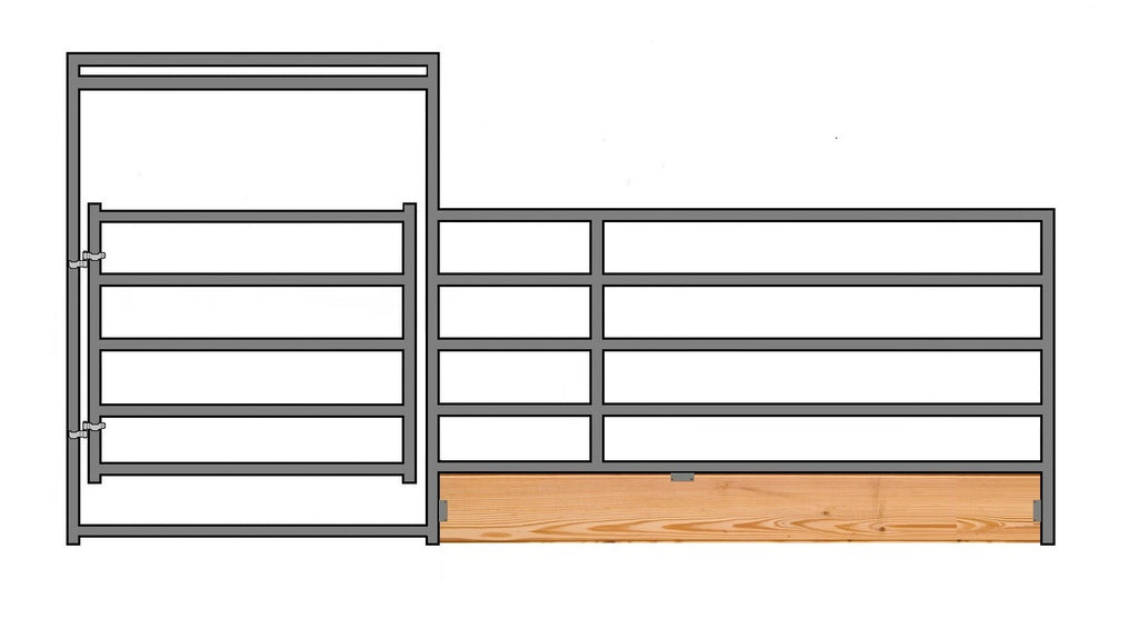 "16'W x 5'H 5-Rail 1-7/8"" Wood-Base Corral Panel W/ Gate"