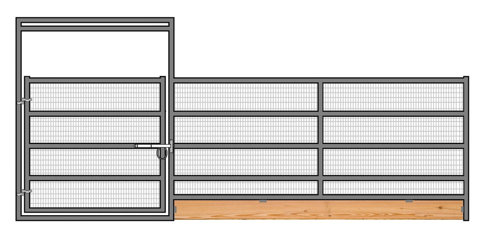 16'W x 6'H 5-Rail 1-5/8 Welded Wire Corral Panel With Gate W/ Wood-Base
