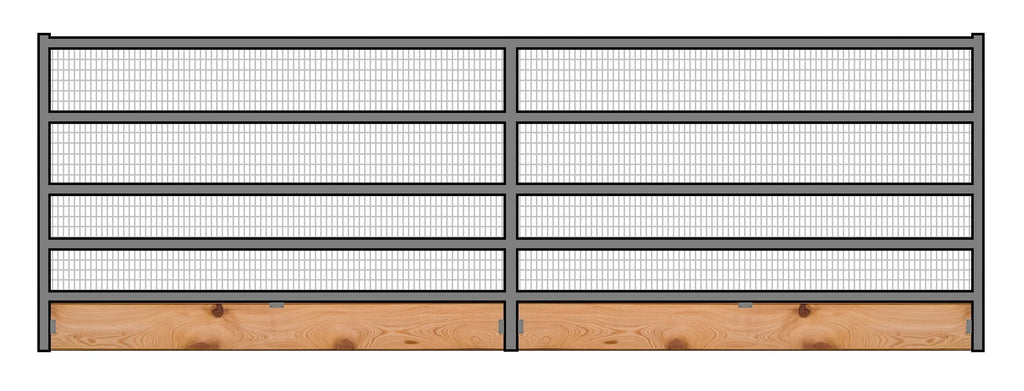 16'W x 6'H Welded Wire Corral Panel 5-Rail 1-7/8 W/ Wood Base