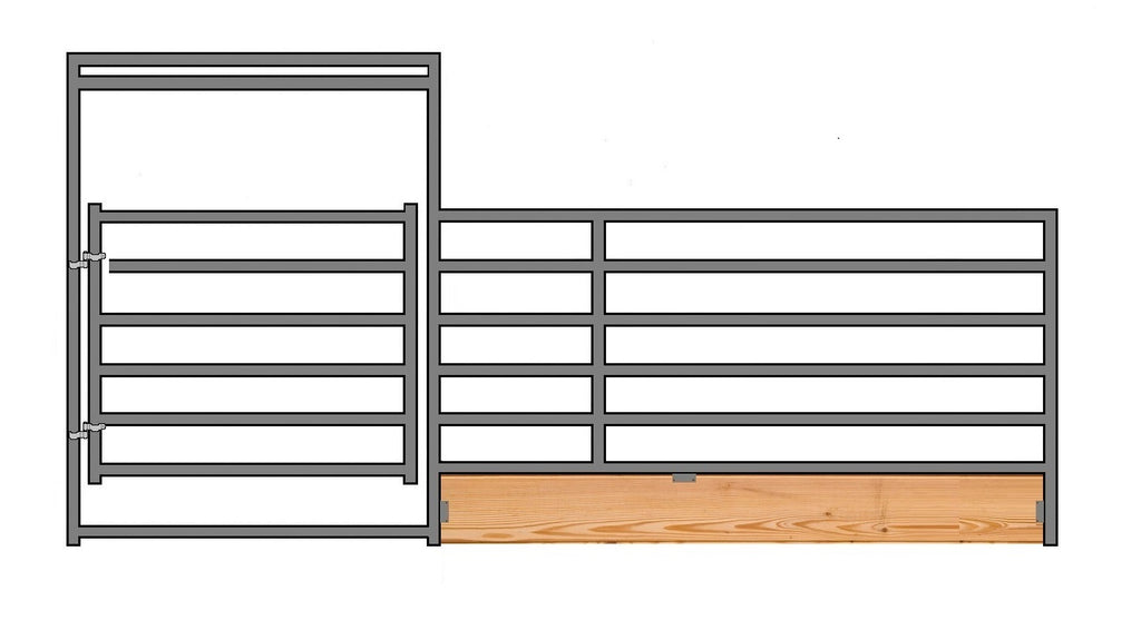 "16'W x 6'H 6-Rail 1-5/8"" Wood-Base Corral Panel W/ Gate"