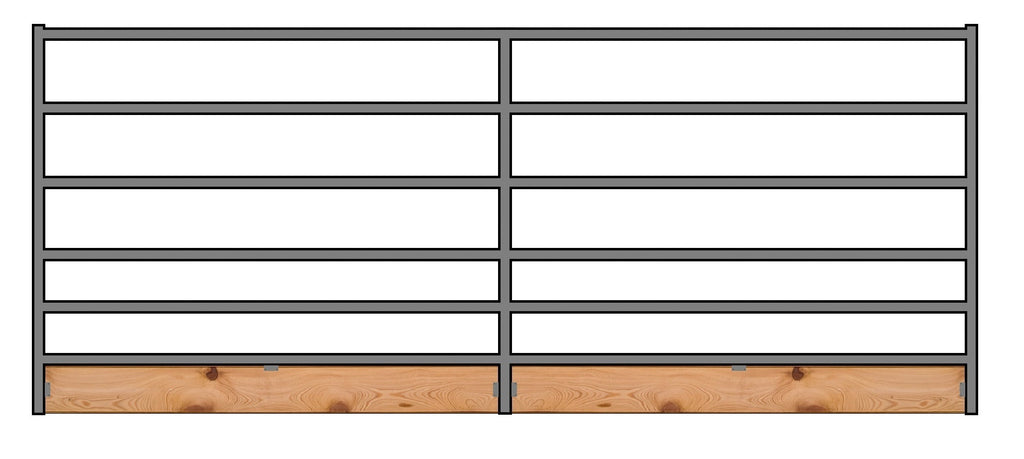 16'W x 5'H 6-Rail 1-5/8 Corral Panel W/ Wood-Base