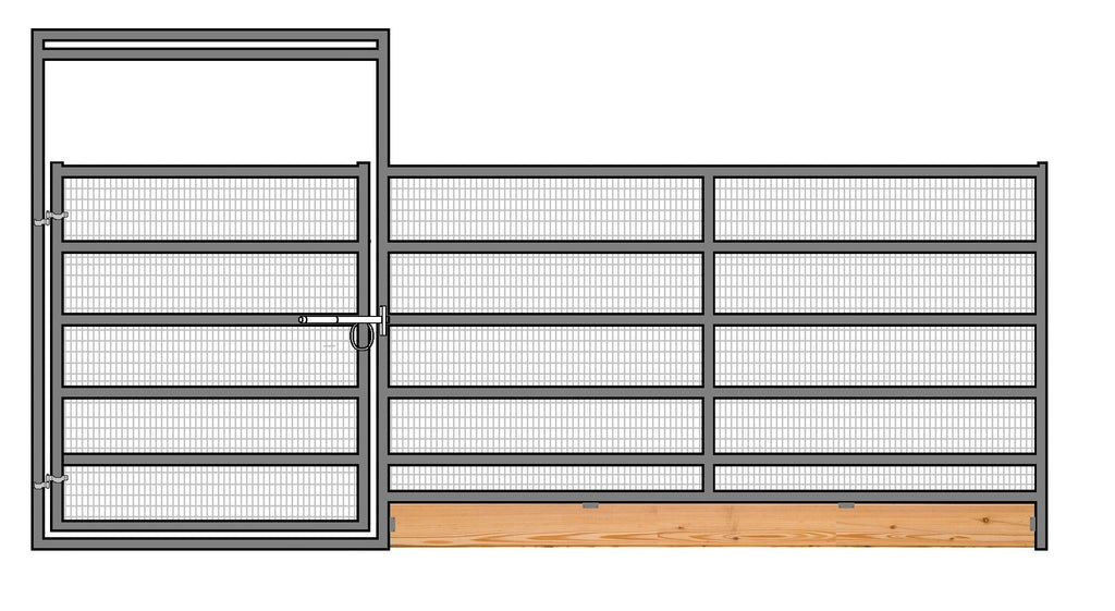 16'W x 6'H 6-Rail 1-5/8 Welded Wire Corral Panel With Gate W/ Wood-Base