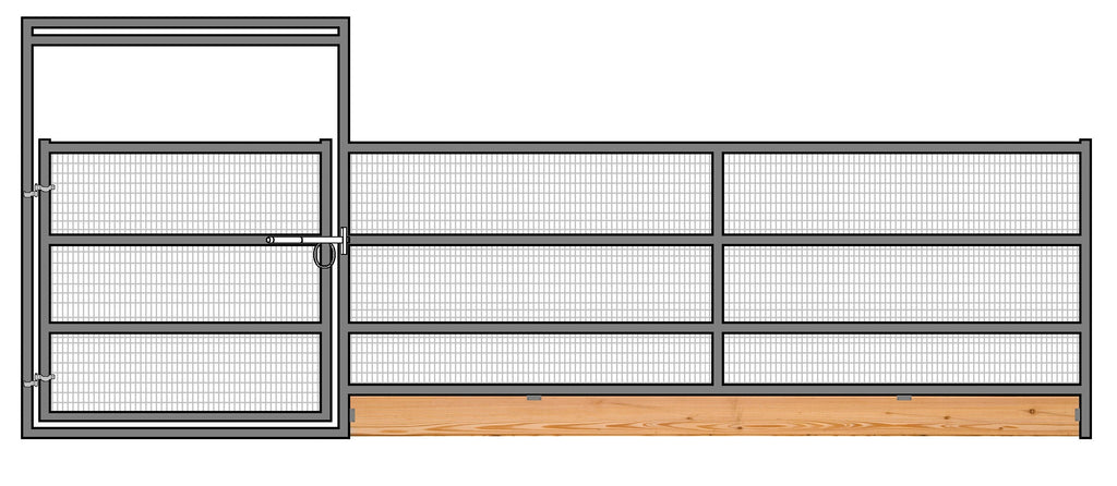 24'W x 6'H 4-Rail 1-7/8 Welded Wire Corral Panel With Gate W/ Wood-Base