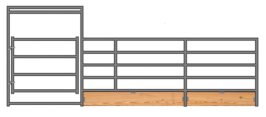 "24'W x 5'H 5-Rail 1-7/8"" Wood-Base Corral Panel W/ Gate"