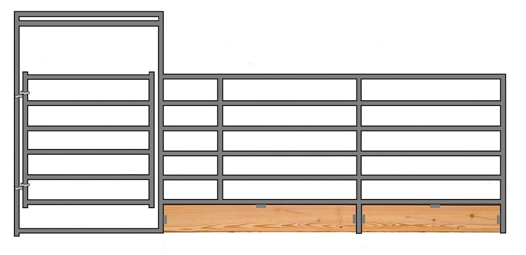 "24'W x 6'H 6-Rail 1-7/8"" Wood-Base Corral Panel W/ Gate"
