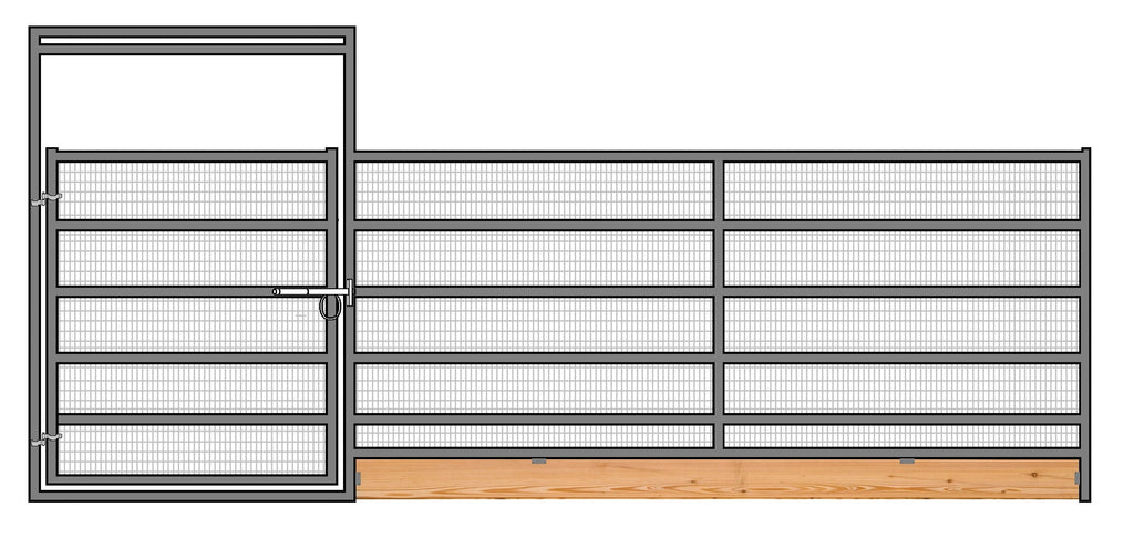 24'W x 6'H 6-Rail 1-7/8 Welded Wire Corral Panel With Gate W/ Wood-Base