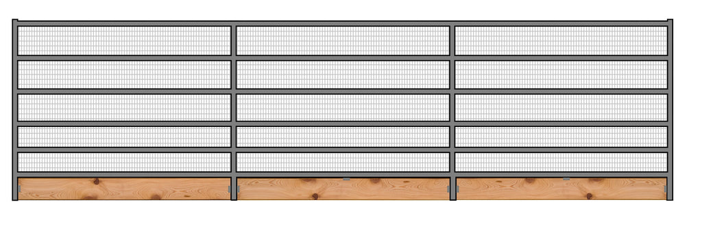 24'W x 6'H Welded Wire Corral Panel 6-Rail 1-7/8 W/ Wood Base
