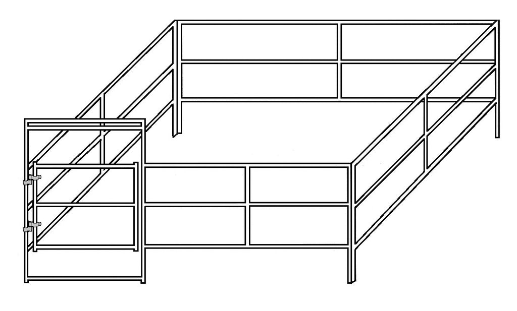 16'W x 16D' Complete Corral 3-Rail 1-5/8